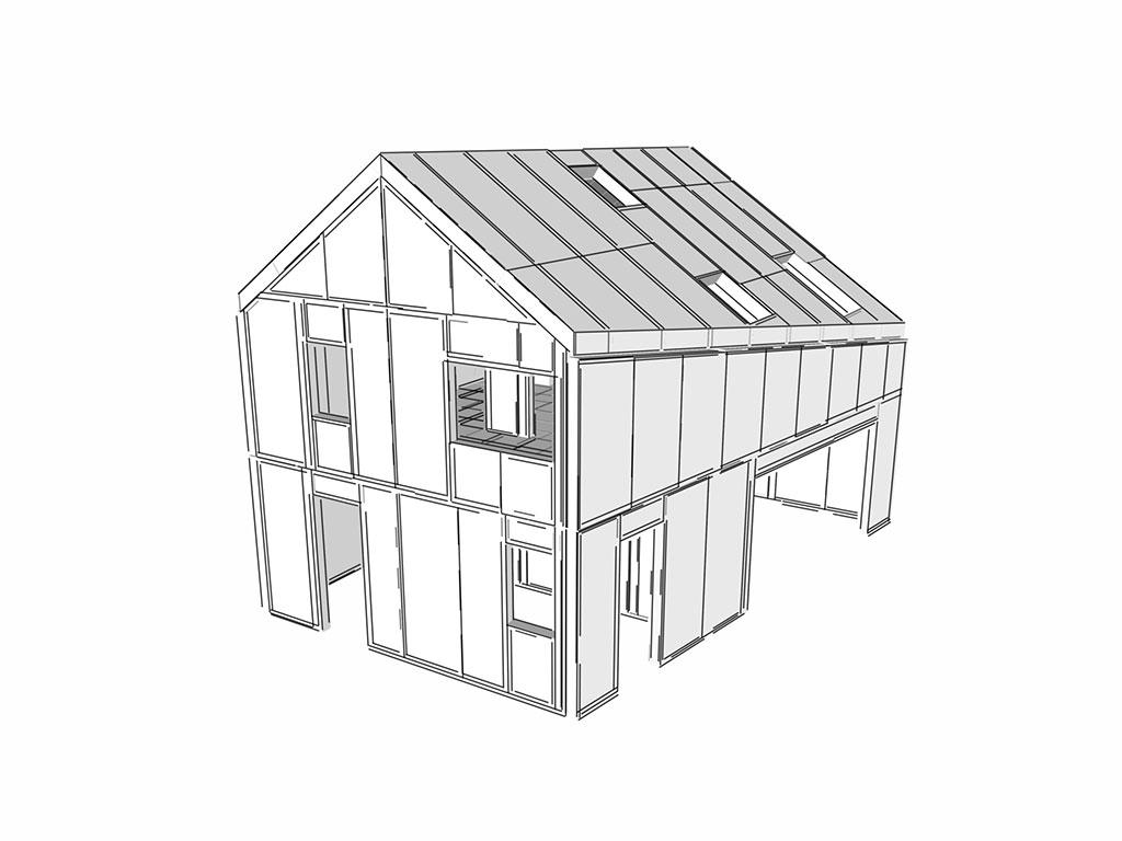 3D model sip panelovej budovy sipeurope