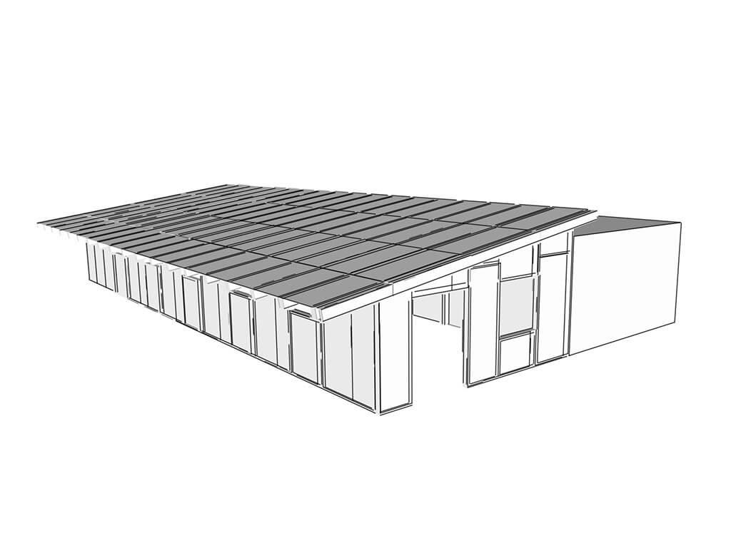 3D návrh komerčného objektu z SE-SIP panelov