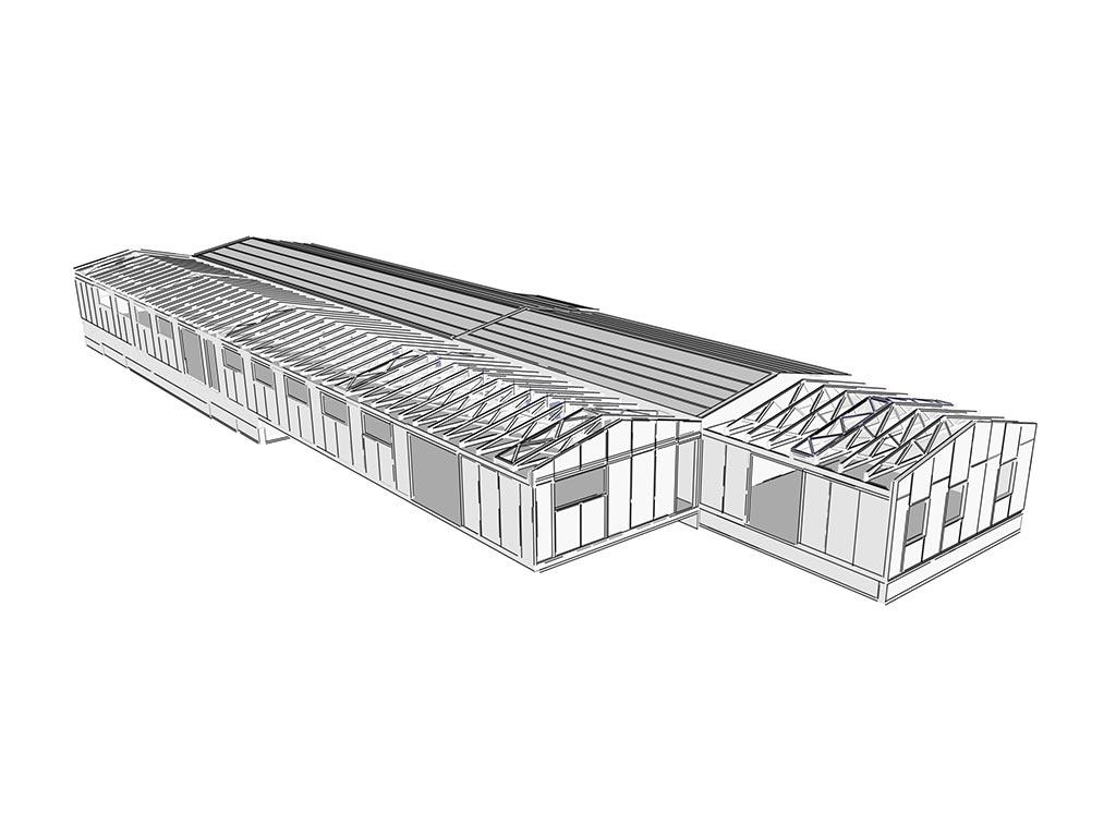 3D návrh nízkoenergetickej priemyselnej budovy systém sip