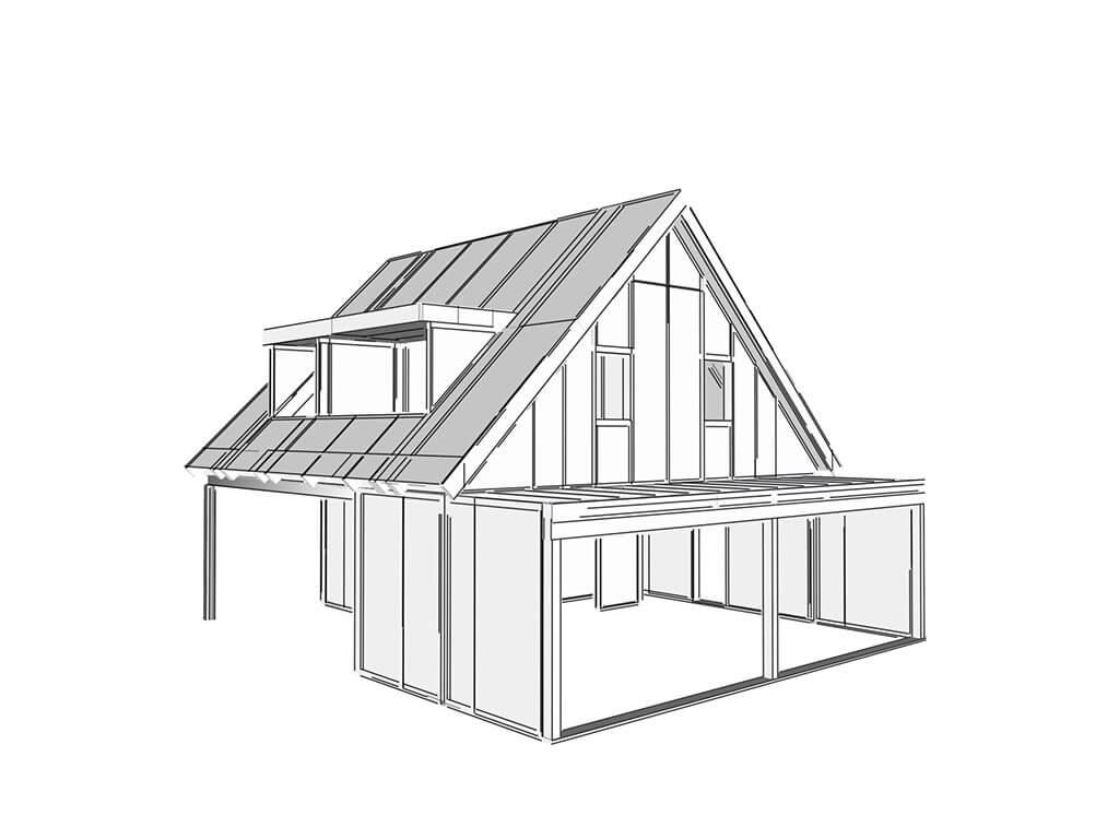 3D model nízkoenergetický rodinný dom systémom SE SIP