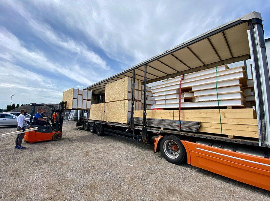 doprava sip panelov - stavebný systém SE-SIP