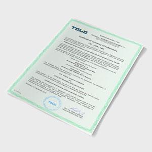 Certifikát o nemennosti parametrov 1301 sip panel SIPEUROPE