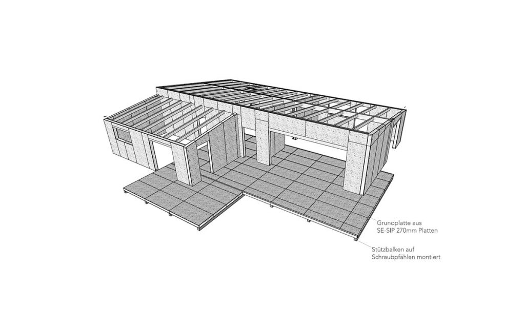 Gebäudefundamente auf Schraubpfählen SE-SIP-Platte